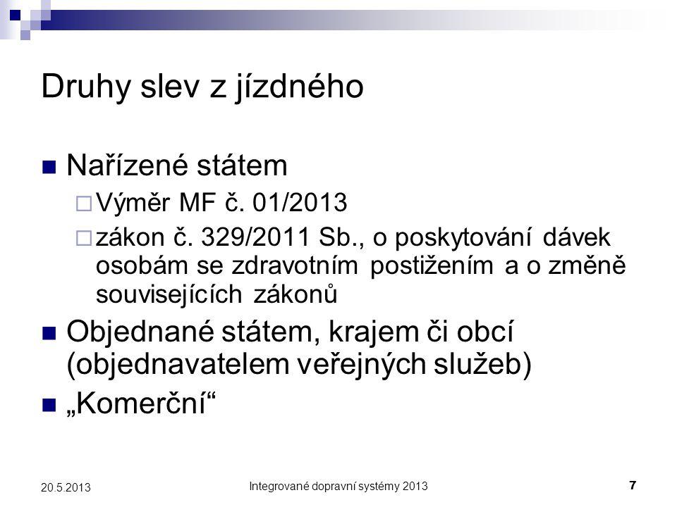 Integrované dopravní systémy 20137 20.5.2013 Druhy slev z jízdného  Nařízené státem  Výměr MF č. 01/2013  zákon č. 329/2011 Sb., o poskytování dáve