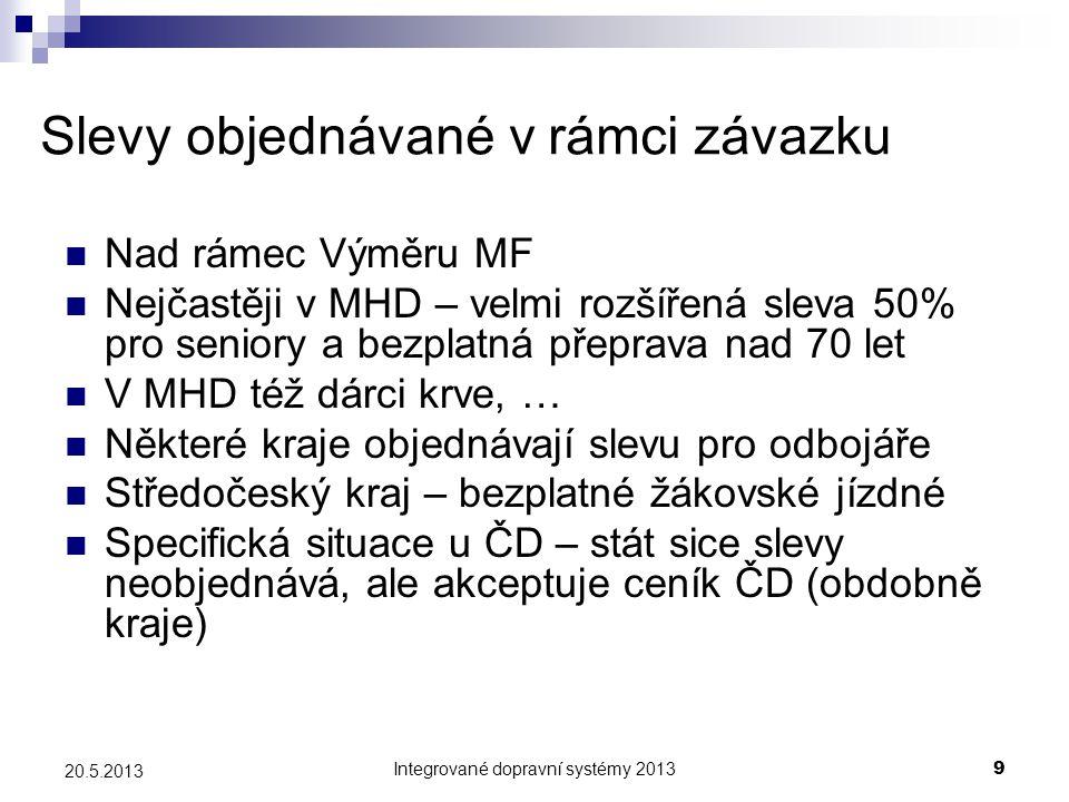 Integrované dopravní systémy 20139 20.5.2013 Slevy objednávané v rámci závazku  Nad rámec Výměru MF  Nejčastěji v MHD – velmi rozšířená sleva 50% pr
