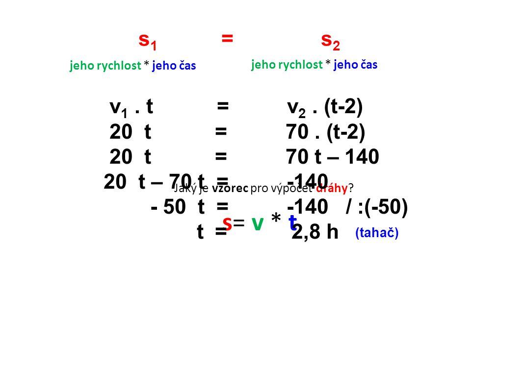 s 1 = s 2 Jaký je vzorec pro výpočet dráhy.s= v * t jeho rychlost * jeho čas v 1.
