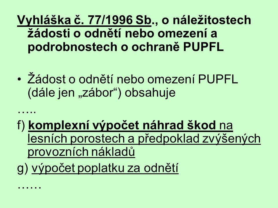 """Vyhláška č. 77/1996 Sb., o náležitostech žádosti o odnětí nebo omezení a podrobnostech o ochraně PUPFL •Žádost o odnětí nebo omezení PUPFL (dále jen """""""