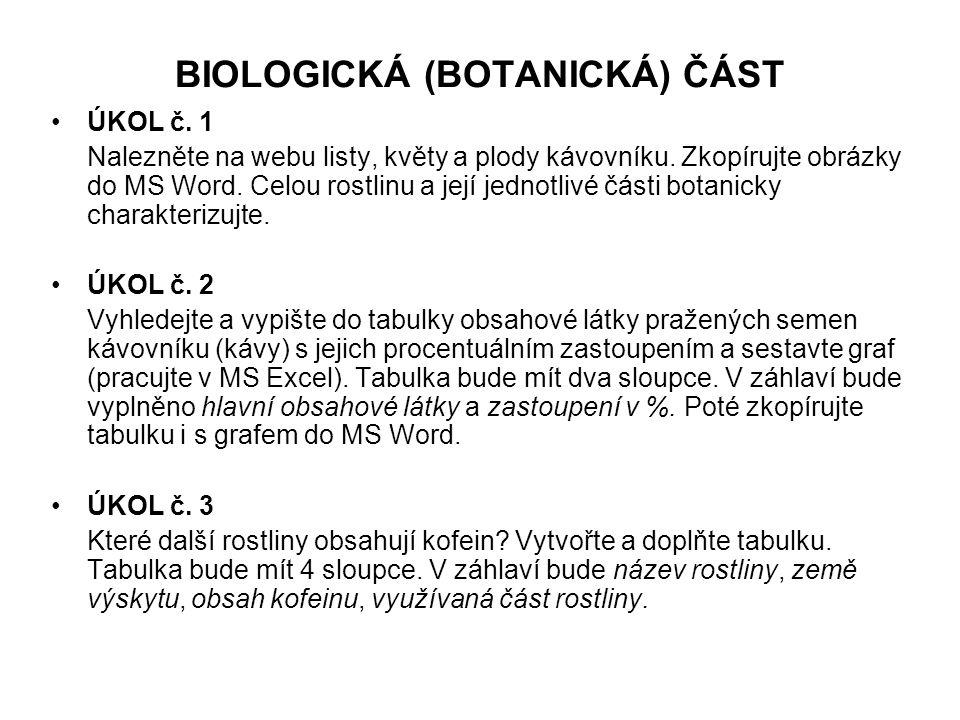 BIOLOGICKÁ (BOTANICKÁ) ČÁST •ÚKOL č. 1 Nalezněte na webu listy, květy a plody kávovníku. Zkopírujte obrázky do MS Word. Celou rostlinu a její jednotli