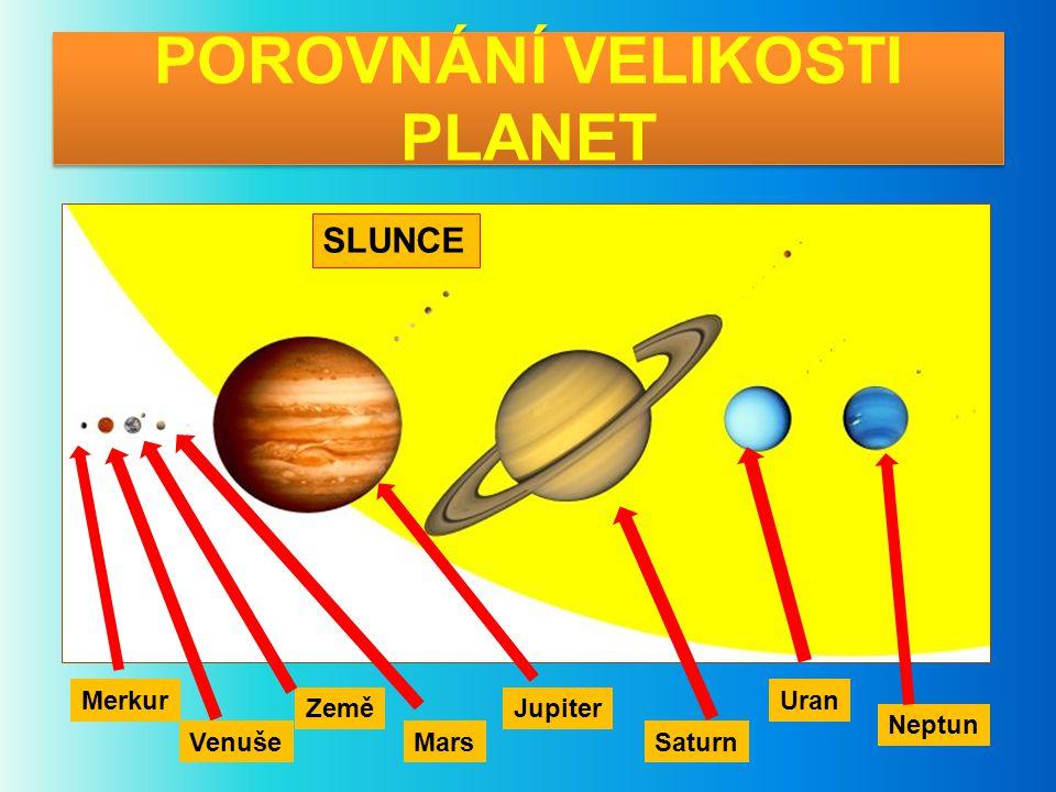 POROVNÁNÍ VELIKOSTI PLANET SLUNCE Merkur Venuše Země Mars Jupiter Saturn Uran Neptun