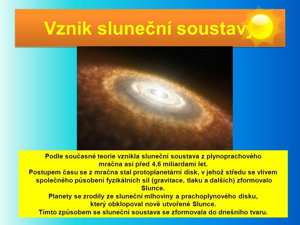 Vznik sluneční soustavy Podle současné teorie vznikla sluneční soustava z plynoprachového mračna asi před 4,6 miliardami let. Postupem času se z mračn