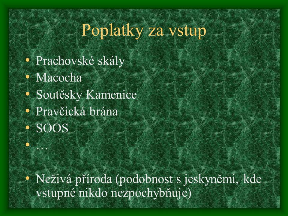 Poplatky za vstup • Prachovské skály • Macocha • Soutěsky Kamenice • Pravčická brána • SOOS • … • Neživá příroda (podobnost s jeskyněmi, kde vstupné n