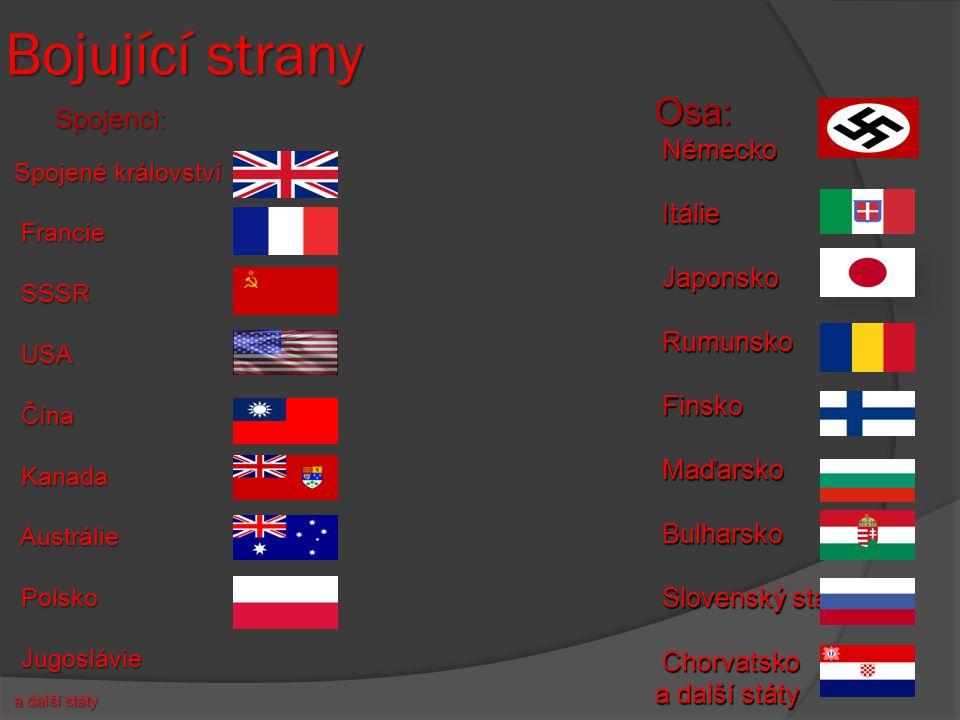 Bojující strany Spojené království Francie Francie SSSR SSSR USA USA Čína Čína Kanada Kanada Austrálie Austrálie Polsko Polsko Jugoslávie Jugoslávie a další státy Osa: Německo Itálie Itálie Japonsko Japonsko Rumunsko Rumunsko Finsko Finsko Maďarsko Maďarsko Bulharsko Bulharsko Slovenský stát Slovenský stát Chorvatsko Chorvatsko a další státy Spojenci: