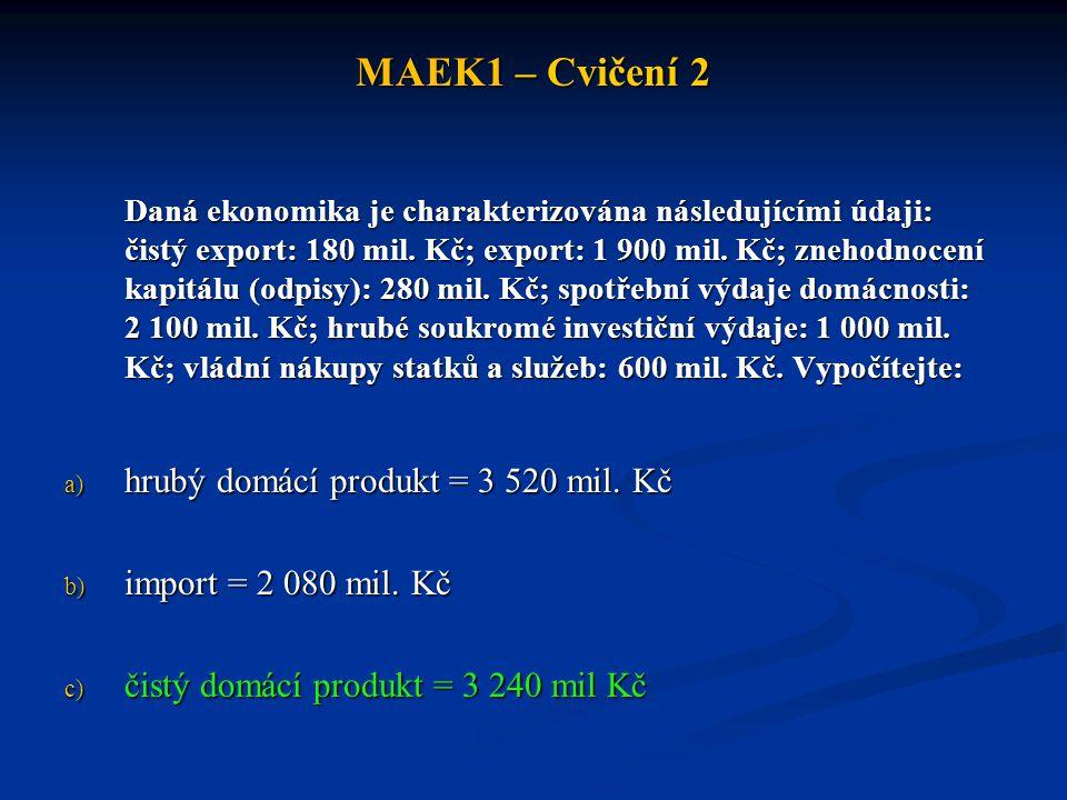 MAEK1 – Cvičení 2 Daná ekonomika je charakterizována následujícími údaji: čistý export: 180 mil.
