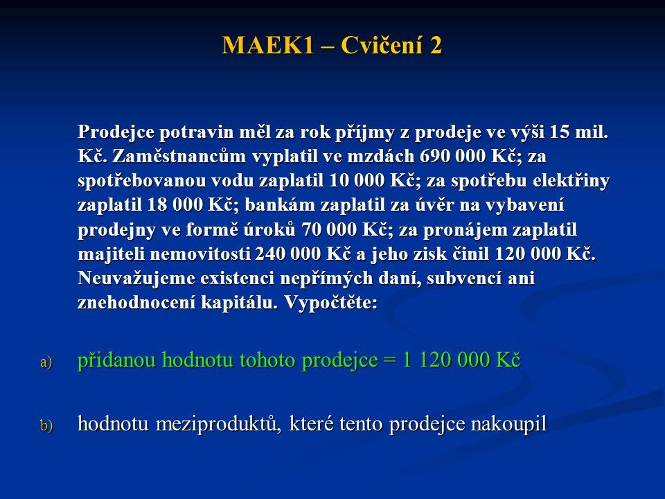 MAEK1 – Cvičení 2 Prodejce potravin měl za rok příjmy z prodeje ve výši 15 mil.