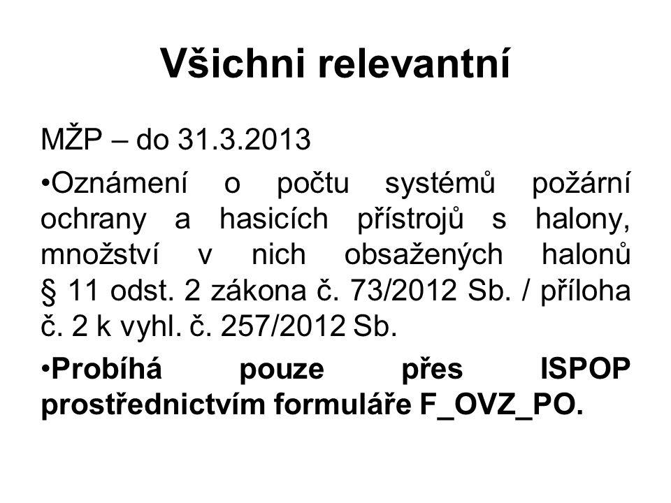 Všichni relevantní MŽP – do 31.3.2013 •Oznámení o počtu systémů požární ochrany a hasicích přístrojů s halony, množství v nich obsažených halonů § 11