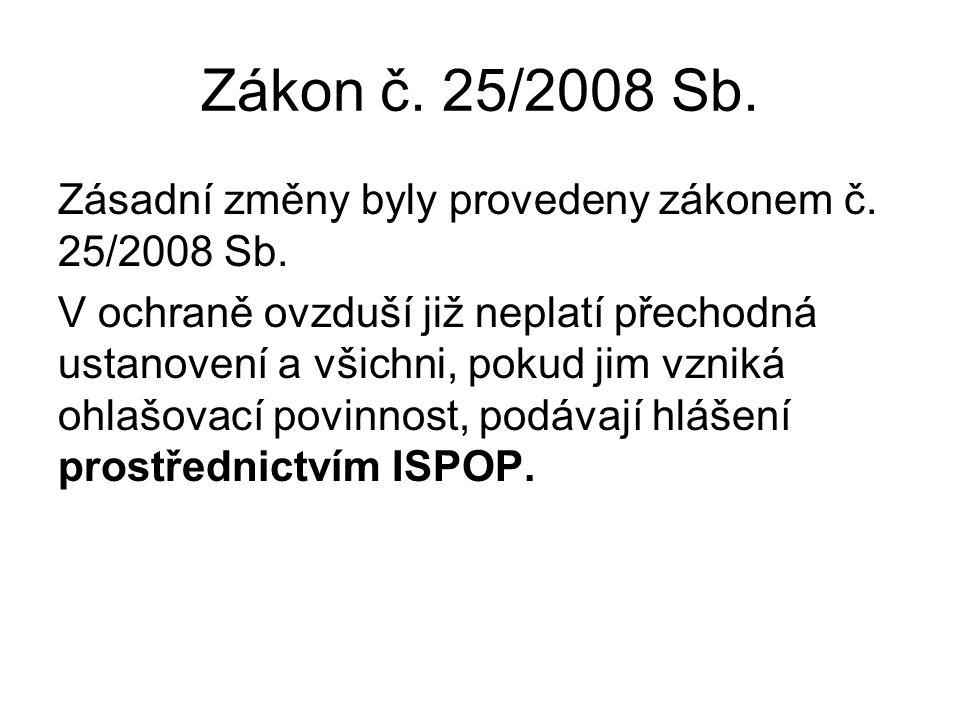 Zákon č. 25/2008 Sb. Zásadní změny byly provedeny zákonem č. 25/2008 Sb. V ochraně ovzduší již neplatí přechodná ustanovení a všichni, pokud jim vznik