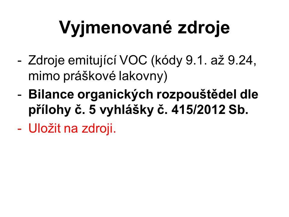 Vyjmenované zdroje -Zdroje emitující VOC (kódy 9.1. až 9.24, mimo práškové lakovny) -Bilance organických rozpouštědel dle přílohy č. 5 vyhlášky č. 415