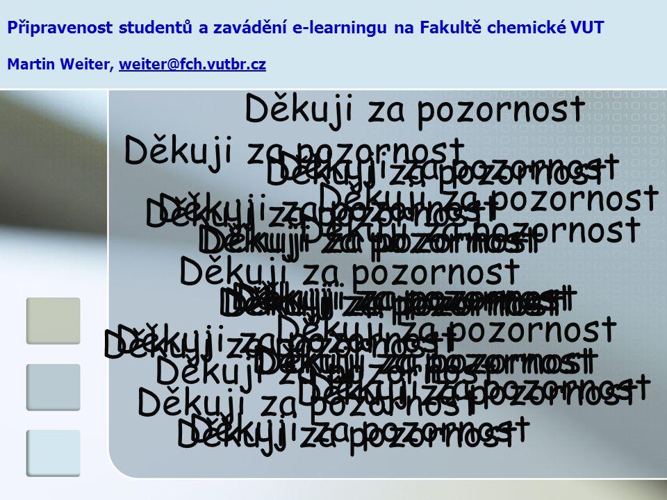 Připravenost studentů a zavádění e-learningu na Fakultě chemické VUT Martin Weiter, weiter@fch.vutbr.cz Děkuji za pozornost