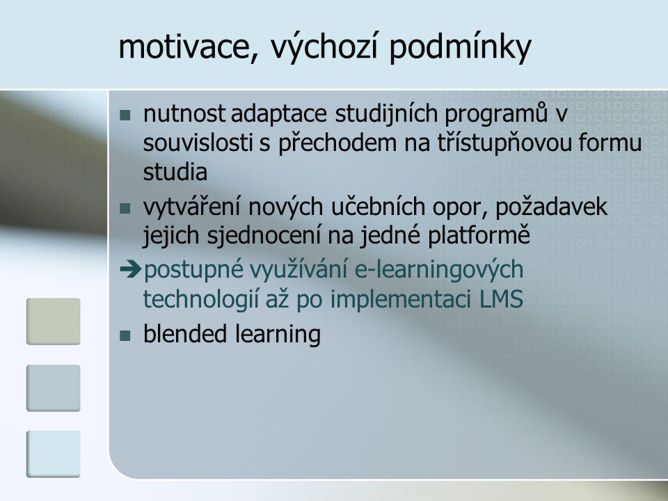motivace, výchozí podmínky  nutnost adaptace studijních programů v souvislosti s přechodem na třístupňovou formu studia  vytváření nových učebních opor, požadavek jejich sjednocení na jedné platformě  postupné využívání e-learningových technologií až po implementaci LMS  blended learning