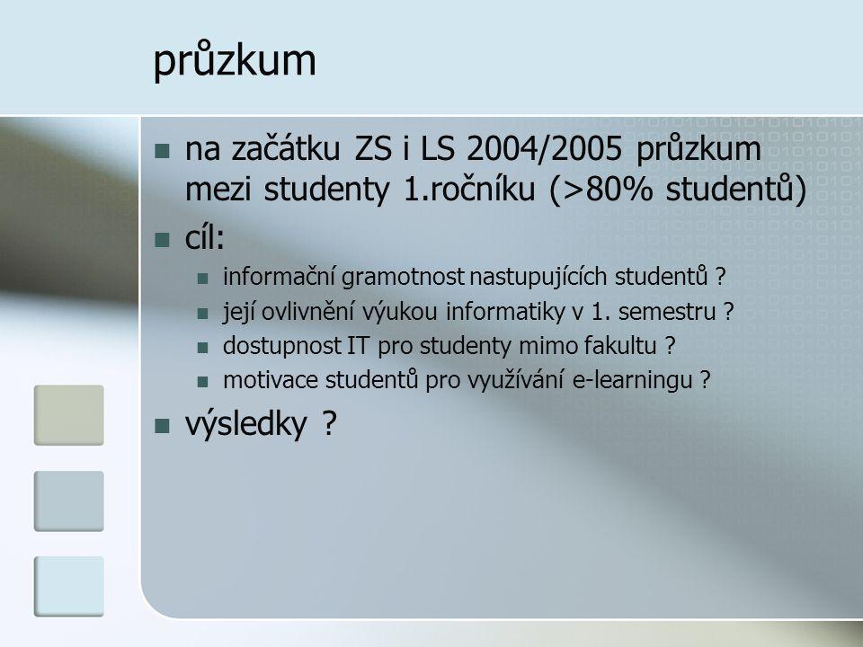 průzkum  na začátku ZS i LS 2004/2005 průzkum mezi studenty 1.ročníku (>80% studentů)  cíl:  informační gramotnost nastupujících studentů .