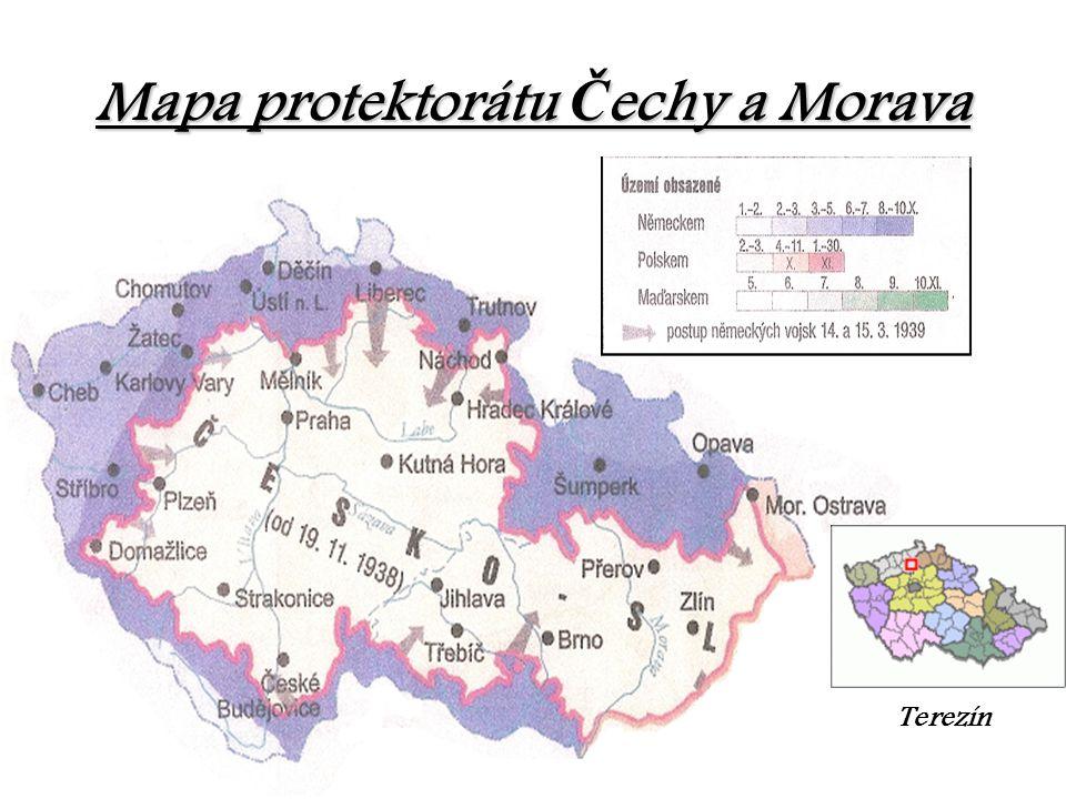 Mapa protektorátu Č echy Č echy a Morava Terezín