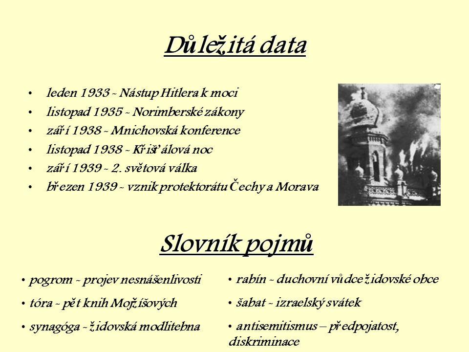 D ů le ž itá D ů le ž itá data •leden 1933 - Nástup Hitlera k moci •listopad 1935 - Norimberské zákony •zá ř í 1938 - Mnichovská konference •listopad