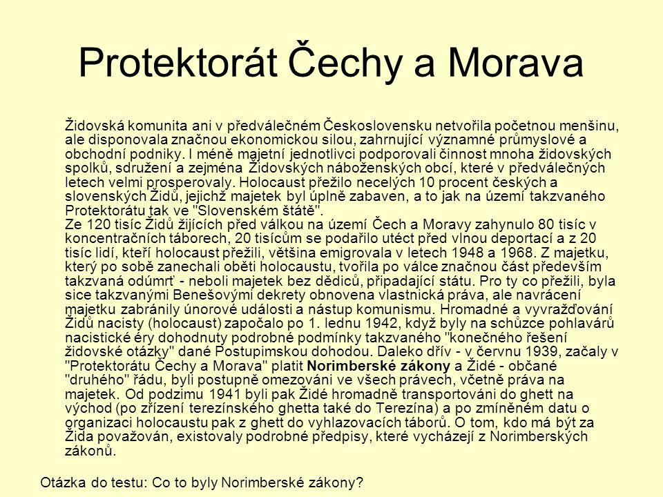 Protektorát Čechy a Morava Židovská komunita ani v předválečném Československu netvořila početnou menšinu, ale disponovala značnou ekonomickou silou,