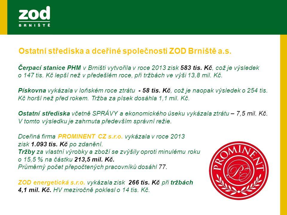 Čerpací stanice PHM v Brništi vytvořila v roce 2013 zisk 583 tis. Kč, což je výsledek o 147 tis. Kč lepší než v předešlém roce, při tržbách ve výši 13