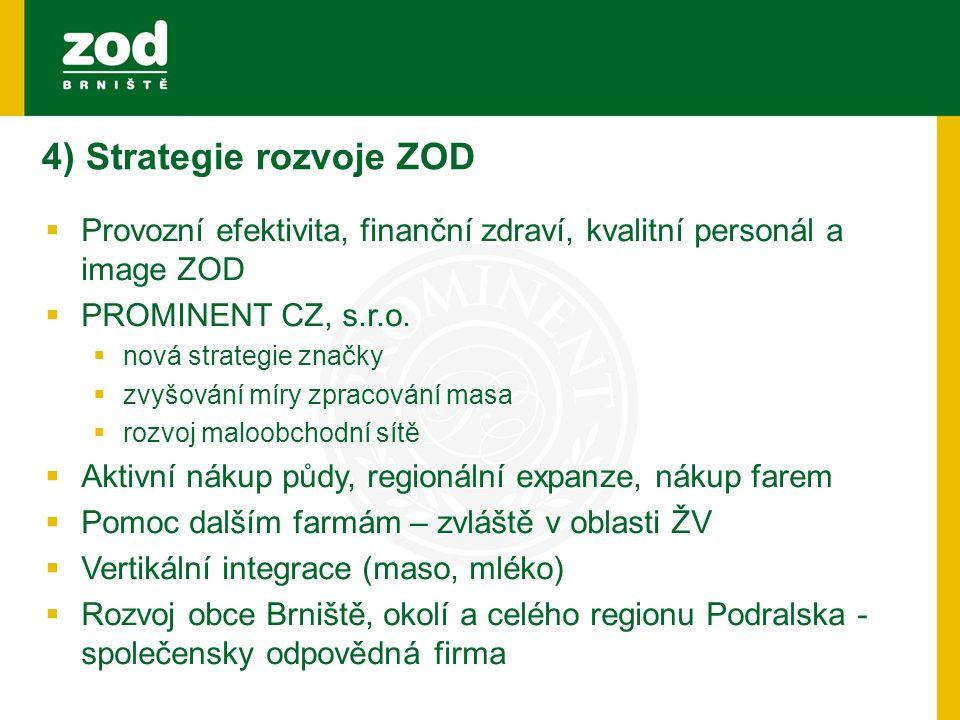4) Strategie rozvoje ZOD  Provozní efektivita, finanční zdraví, kvalitní personál a image ZOD  PROMINENT CZ, s.r.o.  nová strategie značky  zvyšov