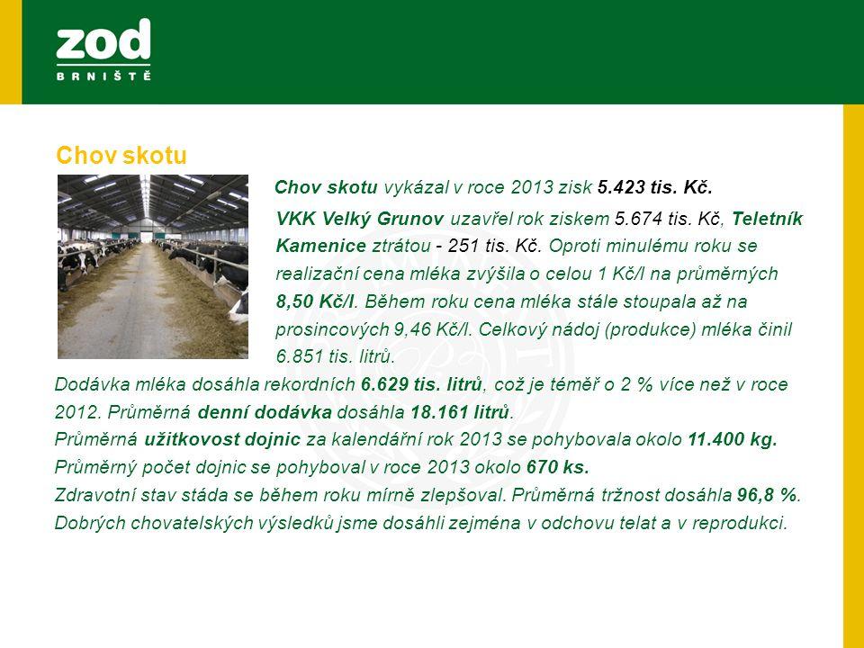 Chov skotu vykázal v roce 2013 zisk 5.423 tis. Kč. VKK Velký Grunov uzavřel rok ziskem 5.674 tis. Kč, Teletník Kamenice ztrátou - 251 tis. Kč. Oproti