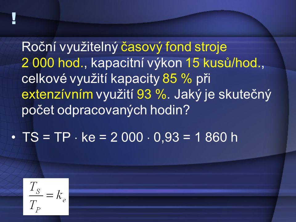 ! •TS = TP  ke = 2 000  0,93 = 1 860 h Roční využitelný časový fond stroje 2 000 hod., kapacitní výkon 15 kusů/hod., celkové využití kapacity 85 % p