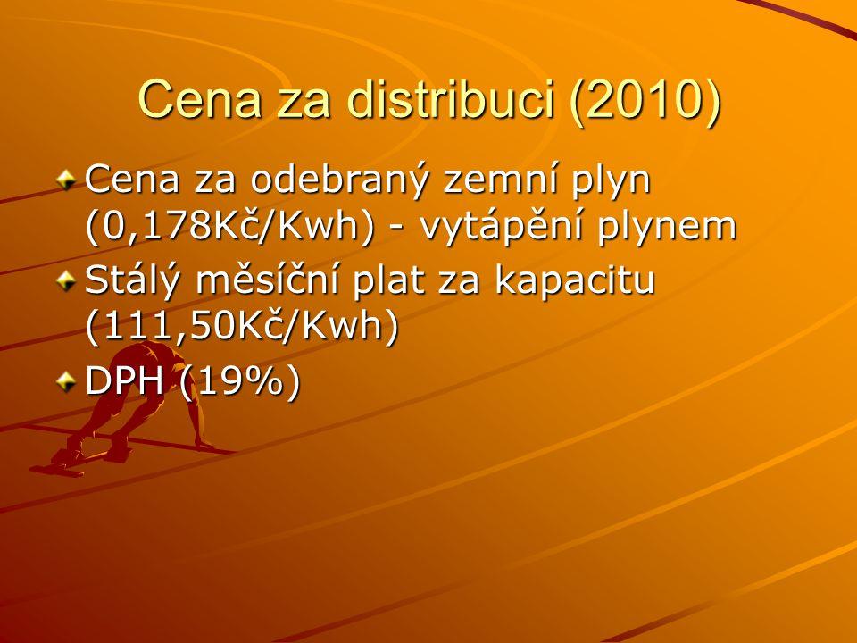 Cena za distribuci (2010) Cena za odebraný zemní plyn (0,178Kč/Kwh) - vytápění plynem Stálý měsíční plat za kapacitu (111,50Kč/Kwh) DPH (19%)