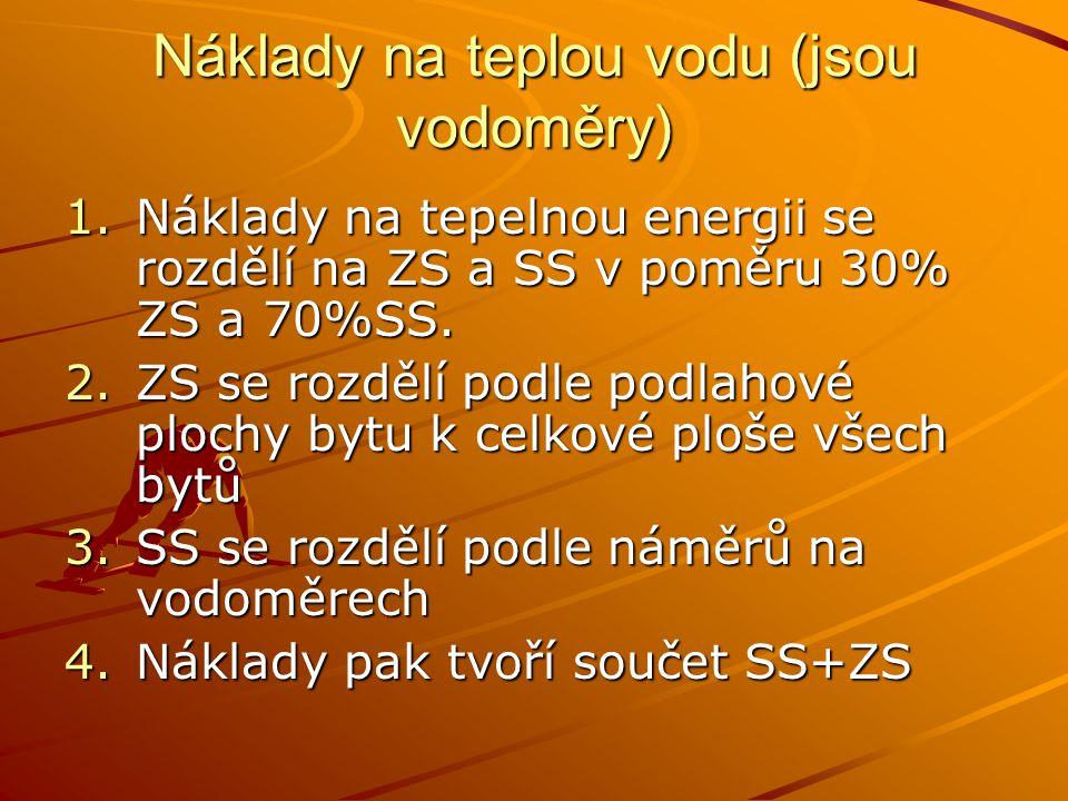 Náklady na teplou vodu (jsou vodoměry) 1.Náklady na tepelnou energii se rozdělí na ZS a SS v poměru 30% ZS a 70%SS. 2.ZS se rozdělí podle podlahové pl