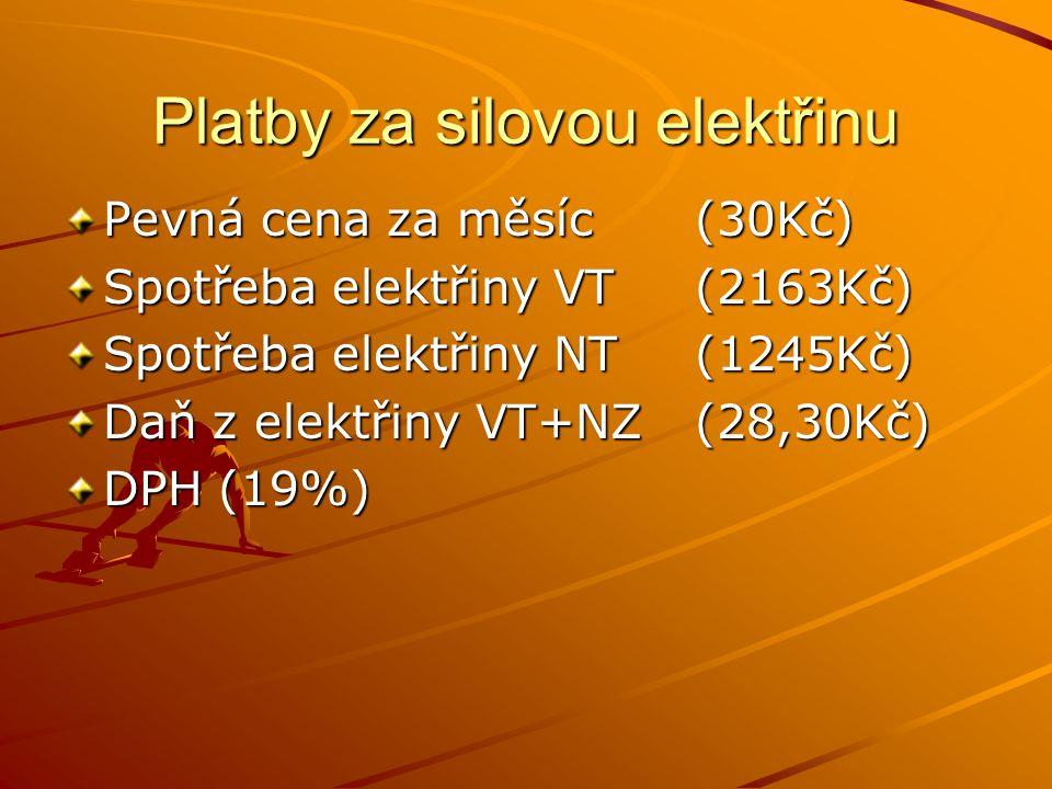 Platby za silovou elektřinu Pevná cena za měsíc (30Kč) Spotřeba elektřiny VT(2163Kč) Spotřeba elektřiny NT(1245Kč) Daň z elektřiny VT+NZ(28,30Kč) DPH