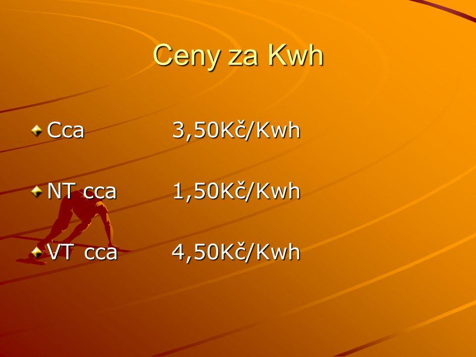 Ceny za Kwh Cca3,50Kč/Kwh NT cca1,50Kč/Kwh VT cca4,50Kč/Kwh