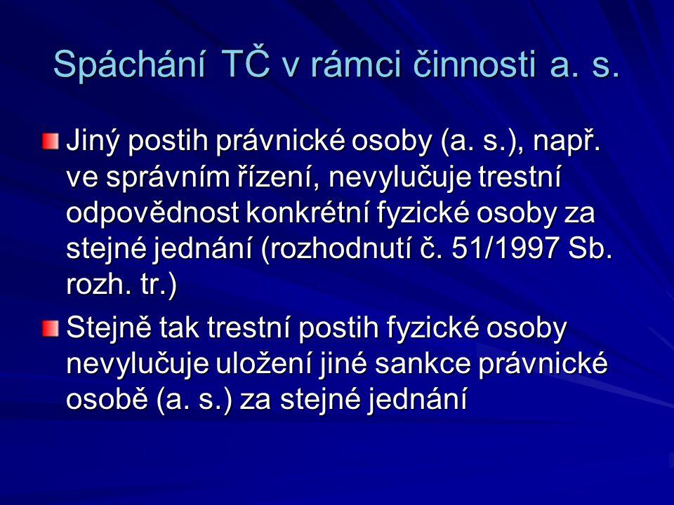 Spáchání TČ v rámci činnosti a.s. Jiný postih právnické osoby (a.