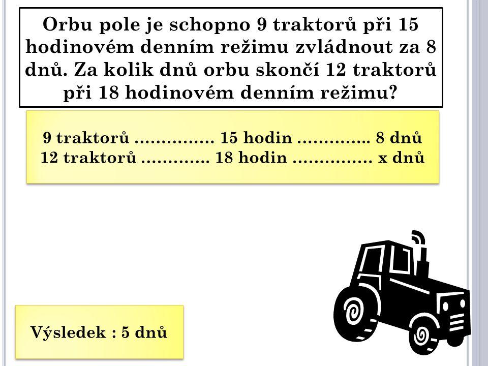 Orbu pole je schopno 9 traktorů při 15 hodinovém denním režimu zvládnout za 8 dnů. Za kolik dnů orbu skončí 12 traktorů při 18 hodinovém denním režimu