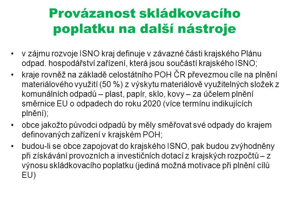 Provázanost skládkovacího poplatku na další nástroje •v zájmu rozvoje ISNO kraj definuje v závazné části krajského Plánu odpad. hospodářství zařízení,