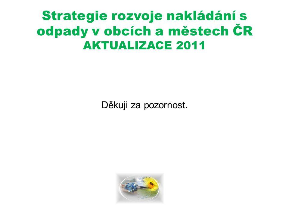 Strategie rozvoje nakládání s odpady v obcích a městech ČR AKTUALIZACE 2011 Děkuji za pozornost.