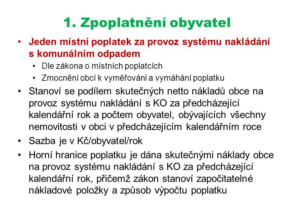 1. Zpoplatnění obyvatel •Jeden místní poplatek za provoz systému nakládání s komunálním odpadem •Dle zákona o místních poplatcích •Zmocnění obcí k vym