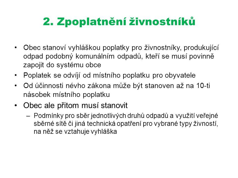 2. Zpoplatnění živnostníků •Obec stanoví vyhláškou poplatky pro živnostníky, produkující odpad podobný komunálním odpadů, kteří se musí povinně zapoji