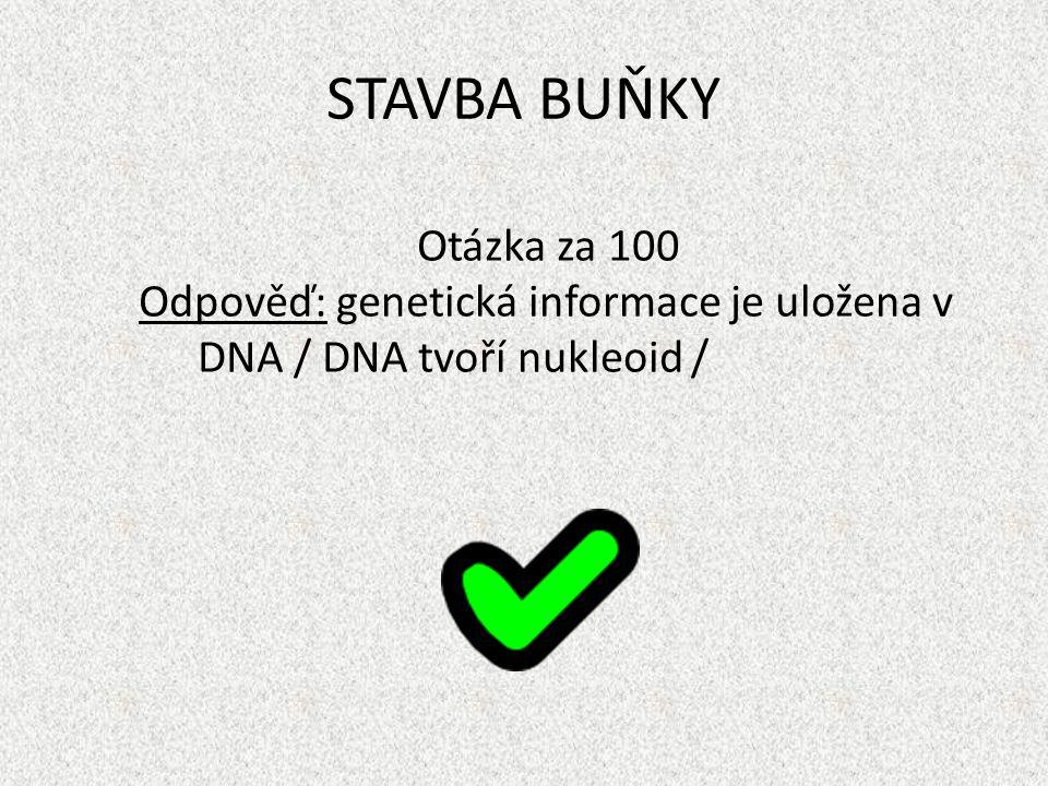 STAVBA BUŇKY Otázka za 100 Odpověď: genetická informace je uložena v DNA / DNA tvoří nukleoid /