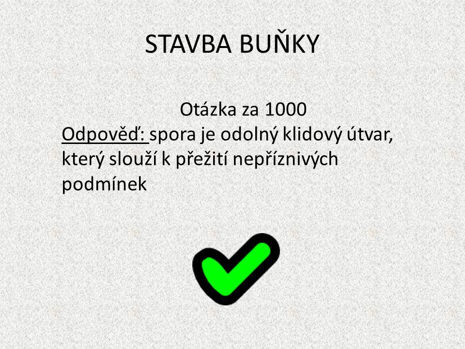 STAVBA BUŇKY Otázka za 1000 Odpověď: spora je odolný klidový útvar, který slouží k přežití nepříznivých podmínek