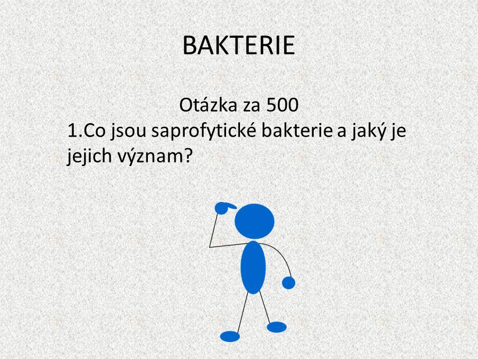 BAKTERIE Otázka za 500 1.Co jsou saprofytické bakterie a jaký je jejich význam?