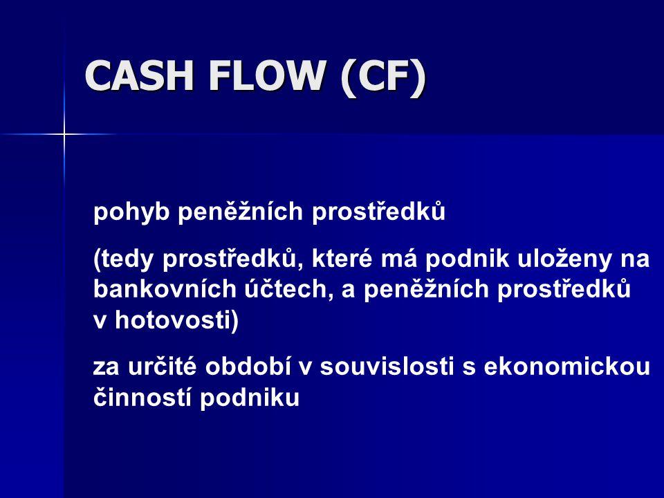 CASH FLOW (CF) pohyb peněžních prostředků (tedy prostředků, které má podnik uloženy na bankovních účtech, a peněžních prostředků v hotovosti) za určit