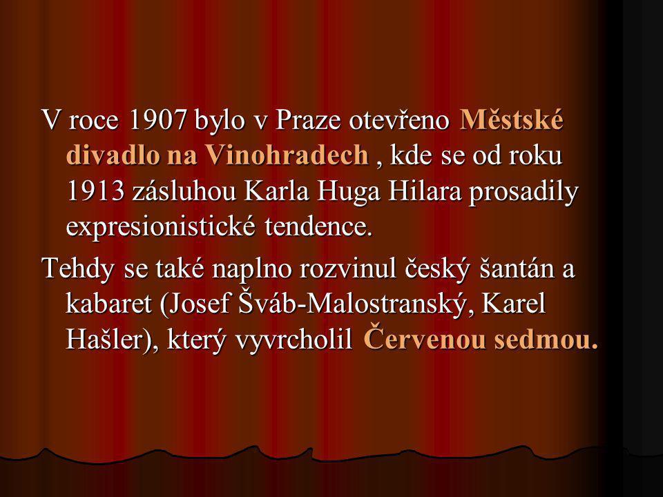 V roce 1907 bylo v Praze otevřeno Městské divadlo na Vinohradech, kde se od roku 1913 zásluhou Karla Huga Hilara prosadily expresionistické tendence.