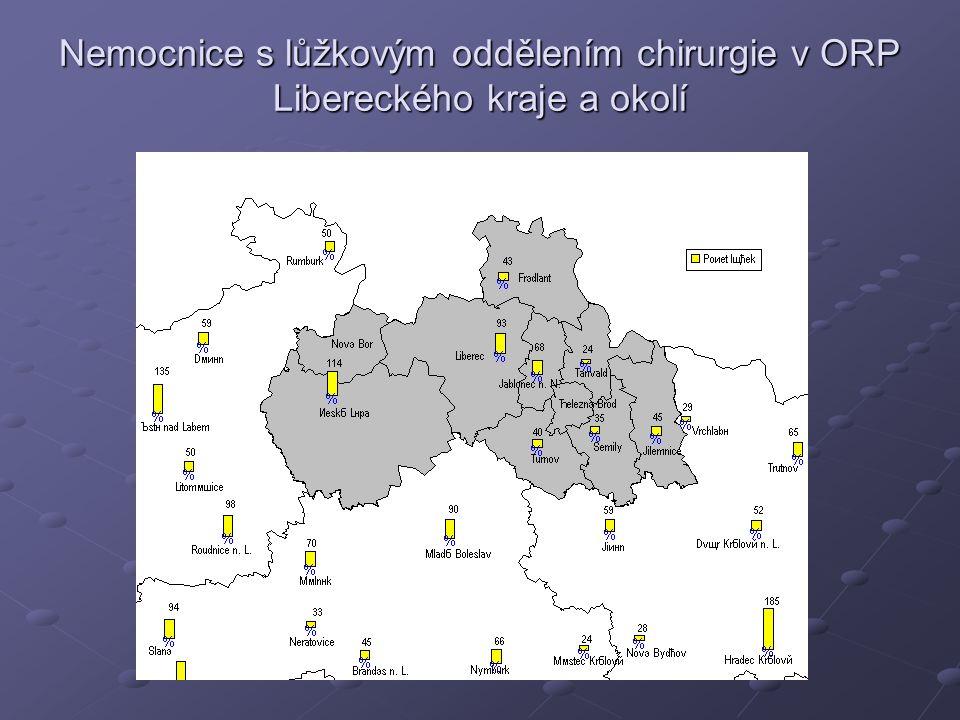 Nemocnice s lůžkovým oddělením chirurgie v ORP Libereckého kraje a okolí