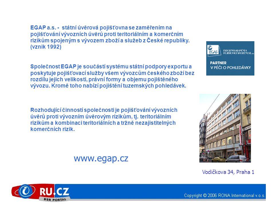 EGAP a.s. - státní úvěrová pojišťovna se zaměřením na pojišťování vývozních úvěrů proti teritoriálním a komerčním rizikům spojeným s vývozem zboží a s