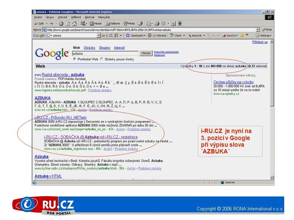 i-RU.CZ je nyní na 3. pozici v Google při výpisu slova ´AZBUKA´