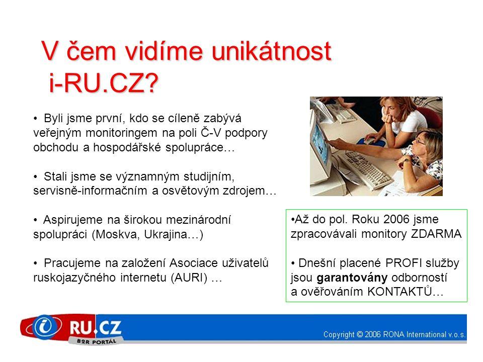 V čem vidíme unikátnost i-RU.CZ? i-RU.CZ? • Byli jsme první, kdo se cíleně zabývá veřejným monitoringem na poli Č-V podpory obchodu a hospodářské spol