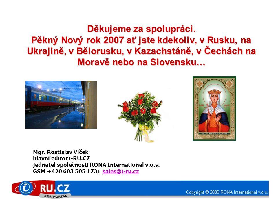 Děkujeme za spolupráci. Pěkný Nový rok 2007 ať jste kdekoliv, v Rusku, na Ukrajině, v Bělorusku, v Kazachstáně, v Čechách na Moravě nebo na Slovensku…