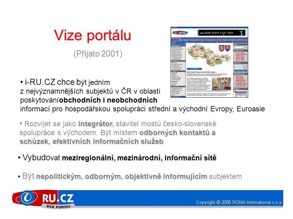 Vize portálu Vize portálu (Přijato 2001) • i-RU.CZ chce b ýt jedním z nejvýznamnějších subjektů v ČR v oblasti obchodních i neobchodních poskytováníobchodních i neobchodních informací pro hospodářskou spolupráci střední a východní Evropy, Euroasie integrátor odborných kontaktů a schůzek, efektivních informačních služeb • Rozvíjet se jako integrátor, stavitel mostů česko-slovenské spolupráce s východem.
