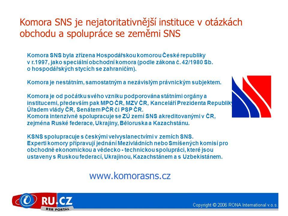 Komora SNS byla zřízena Hospodářskou komorou České republiky v r.1997, jako speciální obchodní komora (podle zákona č. 42/1980 Sb. o hospodářských sty