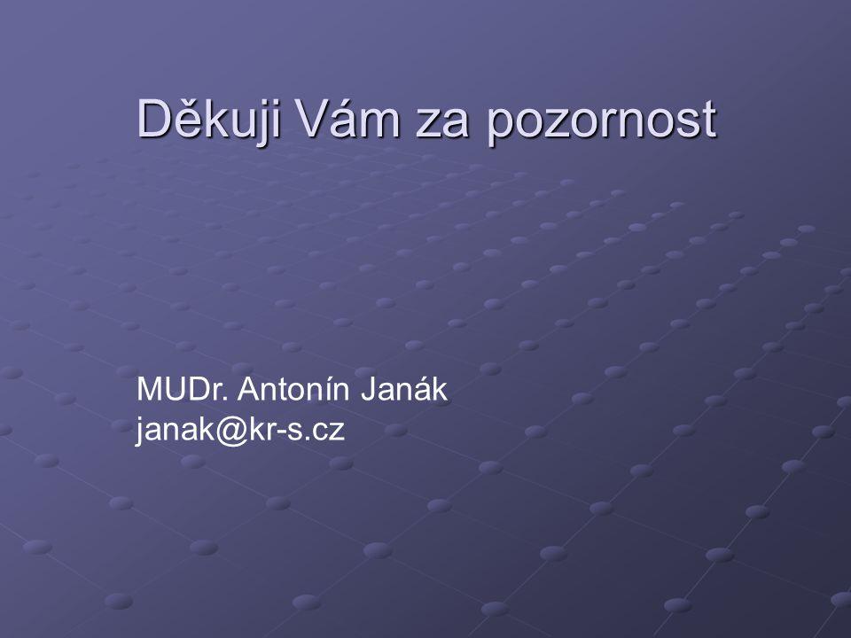 Děkuji Vám za pozornost MUDr. Antonín Janák janak@kr-s.cz