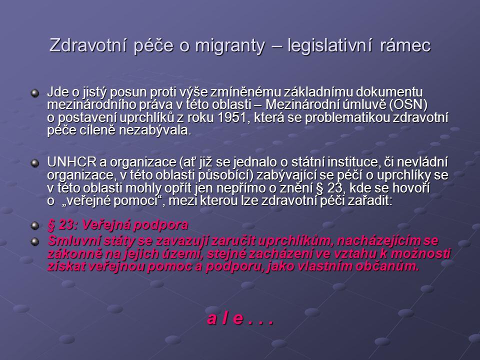 Zdravotní péče o migranty – legislativní rámec Jde o jistý posun proti výše zmíněnému základnímu dokumentu mezinárodního práva v této oblasti – Meziná