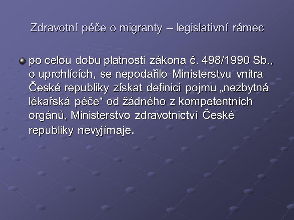 Zdravotní péče o migranty – legislativní rámec po celou dobu platnosti zákona č. 498/1990 Sb., o uprchlících, se nepodařilo Ministerstvu vnitra České