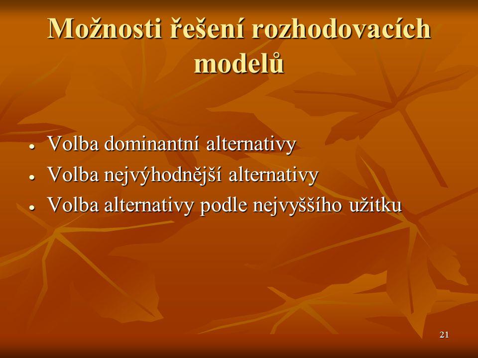 21 Možnosti řešení rozhodovacích modelů  Volba dominantní alternativy  Volba nejvýhodnější alternativy  Volba alternativy podle nejvyššího užitku
